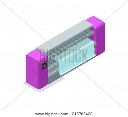 Ironing machine isometric 3d vector illustration with laundry equipment for making clothes smooth