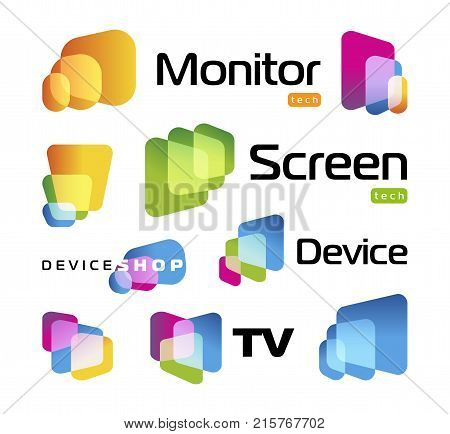 Isolated unusual rectangles with rounded corners intersecting each other.Digital smart TV monitor technology logo. Screen new technology, high resolutions cinema, colorful icons set.