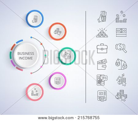 Business income constituent analysis with colorful diagram with icons of money currencies and market forecasts. Vector illustration with strategies on gray