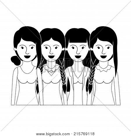 women in half body with casual clothes and hairstyle braided fringe collected and straight in black dotted silhouette vector illustration