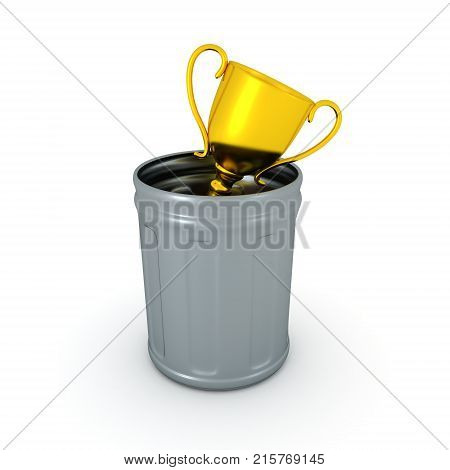 3D illustration of golden trophy thrown in a garbage can. Isolated on white.