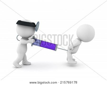 3D illustration of doctor injecting a syringe in a pacient. Isolated on white.