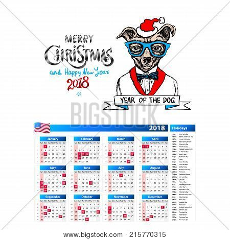 dog as santa portrait calendar 2018 design The year of the dog monthly cards templates Set of 12 month Vector illustrations. art