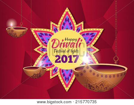 Diwali festival of lights, banner with icon of mandala in centerpiece and text inside it, images of diyas on vector illustration isolated on red
