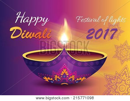 Happy diwali festival of lights 2017, promotional banner with text, images of diya and mandalas on vector illustration isolated on gradient background
