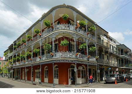 NEW ORLEANS - MAY. 29, 2017: LaBranche House on 700 Royal Street in French Quarter in New Orleans, Louisiana, USA. This building, built in 1835, is one of the most famous building on Royal Street.