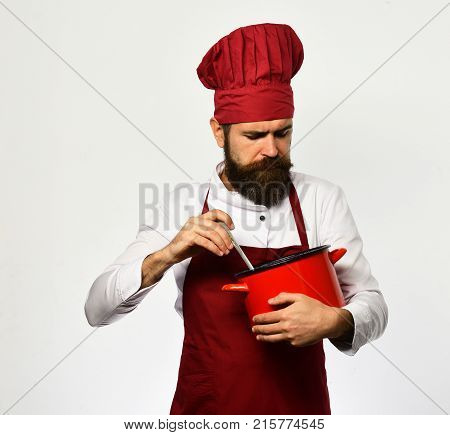 Man With Beard Holds Red Pot On White Background