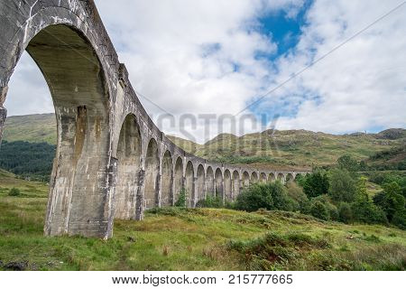 Glenfinnan Viaduct a railway viaduct on the West Highland Line in Glenfinnan Inverness-shire Scotland.