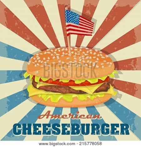 Cheesburger icon. Classic Burger American Cheeseburger with Lettuce Tomato Cheese Beef on a background of colors of the American flag. Fast Food. Beef meat and fresh organic vegetables.