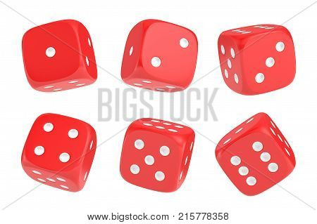 3d rendering of a set of six red dice with white dots hanging in half turn showing different numbers. Lucky dice. Board games. Money bets.