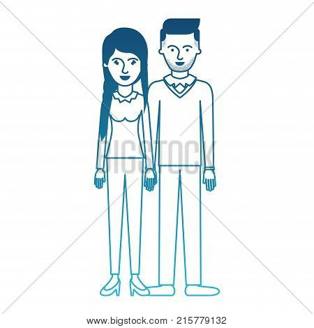 couple in degraded blue silhouette and her with blouse long sleeve and pants and heel shoes with braid and fringe hairstyle and him stubble beard and sweater and pants and shoes with side parted hairstyle vector illustration