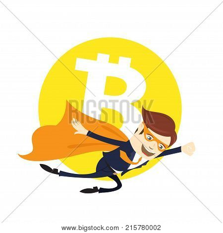 Funny Super Hero Superman Businessman Flying Bitcoin Digital Currency Cryptocurrency