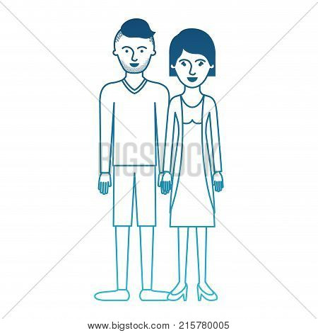 couple in degraded blue silhouette and him with t-shirt long sleeve and short pants and shoes with high fade haircut and stubble beard and her with blouse and jacket and skirt and heel shoes with short hair vector illustration
