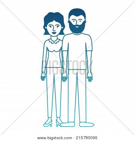 couple in degraded blue silhouette and her with blouse long sleeve and pants and heel shoes with short wavy hair and him with t-shirt and pants and shoes with short hair and beard vector illustration