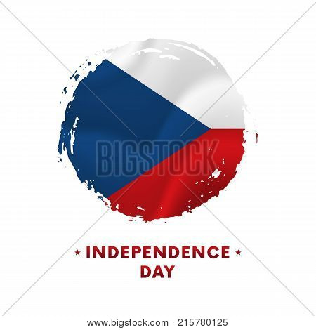 Banner or poster of Czech Republic Independence Day celebration. Waving flag of Czech Republic, brush stroke background. Vector illustration.
