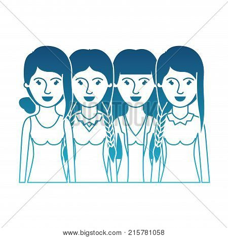 women in half body with casual clothes and hairstyle braided fringe collected and straight in degraded blue silhouette vector illustration