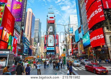 New York City, United States - November 2, 2017:   Times Square at day time.