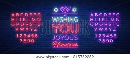 Jewish holiday Hanukkah is a neon sign, a greeting card, a traditional Chanukah template. Happy Hanukkah. Neon banner, bright luminous sign. Vector illustration. Editing text neon sign. Neon alphabet.