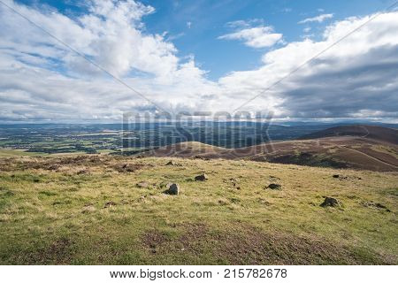 Scenic View Of The City Of Edinburgh With Hills