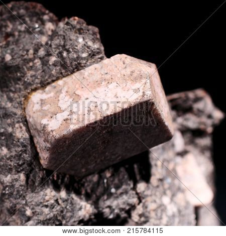 Rhyodacite stone on black background closeup photograph. Natural phenomenon. Solid object .