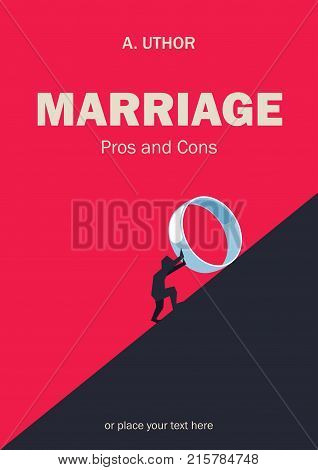 Book cover creative funny concept. Man rolling big wedding ring. Fiction or non-fiction genre. Mid century style design. Applicable for books, posters, placards etc.