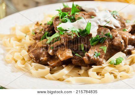 Homemade Beef Stroganoff With Mushrooms