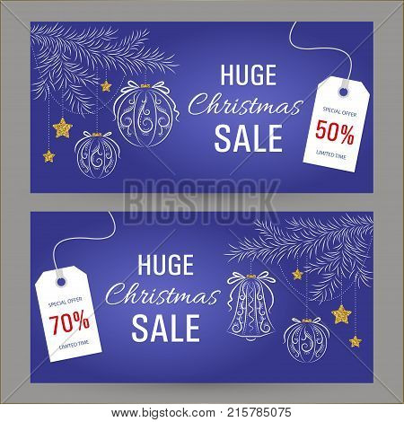 Set horizontal abstract Christmas sale banner. Fir branch decoration, glass balls pattern and stars with texture of gold on blue background, vector illustration