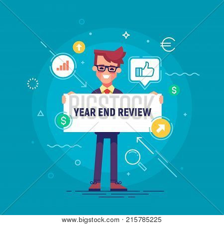 Handsome businessman holding board with title Year End Review. Project report, year end summary concept. Vector illustration in flat style.