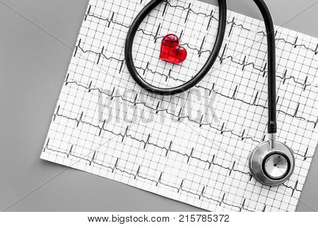 Examine the heart to prevent heart disease. Heart sign, cardiogram, stethoscope on grey background top view.