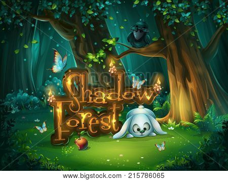 Start window for game user interface. Vector illustration screen to the computer game Shadowy forest GUI. Background image to create buttons banners graphics.