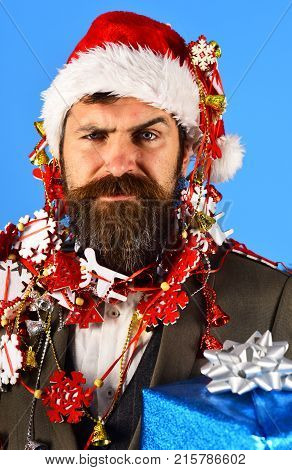 Christmas Corporate Party Concept. Man In Smart Suit, Santa Hat