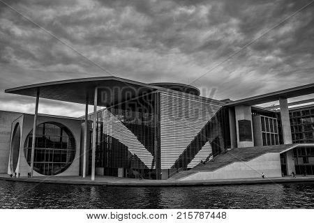 Berlin Germany - October 21 2017: The Marie Elisabeth Lueders Haus parts of the german chancellery building complex ( Bundeskanzleramt) in Berlin Germany.