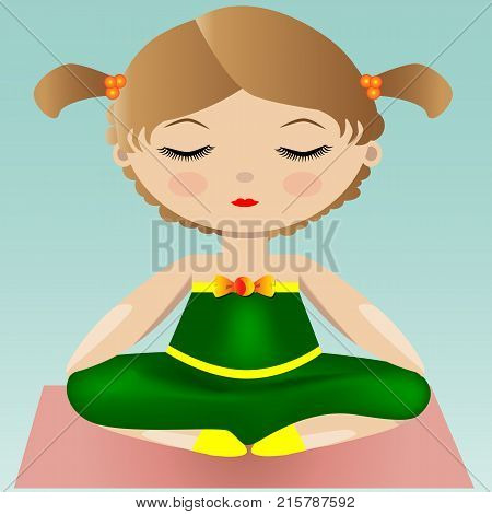 Female Yoga. A Girl Is Sitting In Lotus Position. Vector Illustration Of A Woman Practicing Yoga.