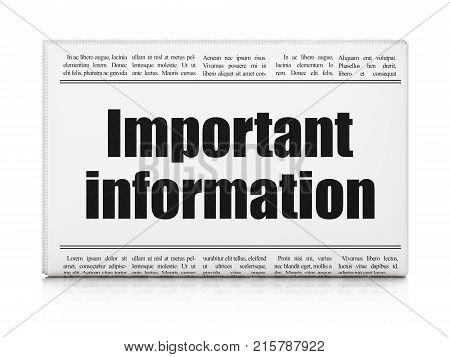 Data concept: newspaper headline Important Information on White background, 3D rendering