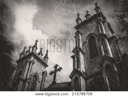 Gothic Episcopal Church In Rain Clouds and Lightning.