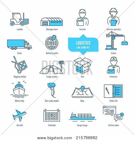 Logistics thin line icons, pictogram and symbol set. Icons for delivery, logistics. Packing, shipping, transportation, tracking, parcel. Transport service employees Illustration editable stroke