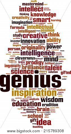 Genius word cloud concept. Vector illustration on white