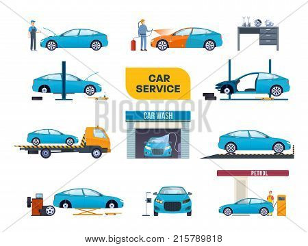 Set car wash service, tire service, repair. Mechanic repairs, diagnostics car in building of auto service. Working in auto repair service. Repair machines, equipment, dyeing. Vector illustration.
