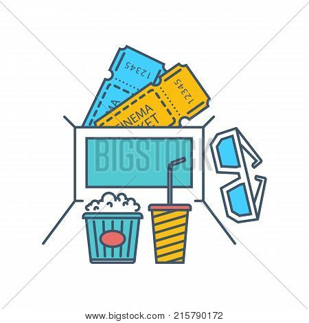 Entertainment, cinema and film, movie theater concept. Cinema icons, tickets to the cinema, media and film, food, fast food and drinks. Illustration thin line design of vector doodles.