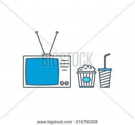 Modern tv, entertainment and free time, watching movies in home, tv with antenna, food and drinks, popcorn and soda water. Cinema, movie time. Illustration thin line design of vector doodles.