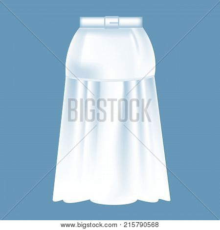 Mockup of women s clothes - long beautiful fashionable skirt. Clothes in white colors. Outdoor fashionable skirt. Template fashion clothes mockup tshirt. Front view. Vector illustration.
