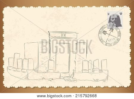 vector retro card with florid edges out of Egypt with a graphic picture of the historical monument. Postage stamp with Pharaoh and damping of the geographical society