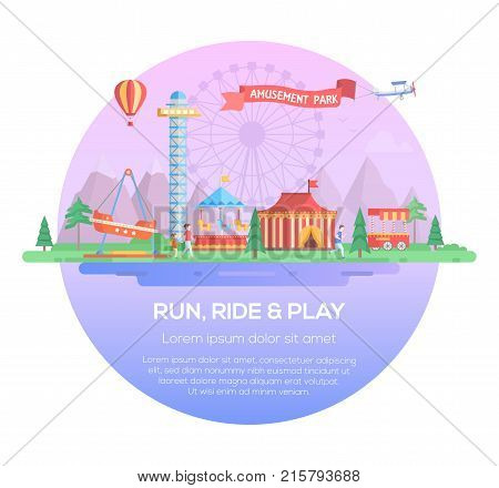 Run, ride and play - modern vector illustration in a round frame on purple background with place for text. Amusement park with attractions, trees, carousels, merry-go-round, big wheel silhoette