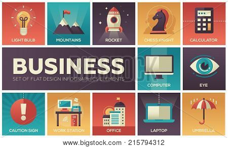 Business - set of flat design infographics elements. Light bulb, mountains, rocket, chess knight, calculator, computer, eye, caution sign, work station, office, laptop, umbrella