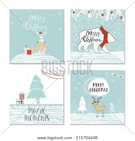 Set Of 4 Cute Christmas Gift Cards With Animals And  Lettering Q