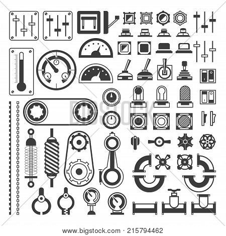 Set of measuring equipment - modern vector realistic isolated clip art on white background. Different instruments for engineering, devices, indicators, gears, sensors, indicating meters, gauges