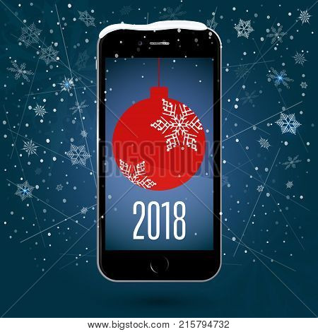 Black touchscreen smartphone with a picture of the Christmas ball. Christmas application. New Year. Vector Image. Snow background of snowflakes and snow flakes