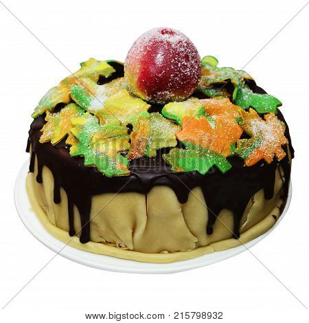 autumn cake with maple leaves and apple isolated