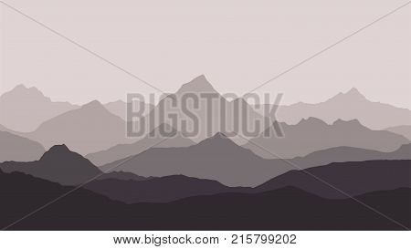 panoramic view of the mountain landscape with fog in the valley below with the alpenglow grey sky and haze background - vector