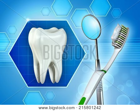 Molar tooth, mirror and toothbrush. Digital illustration.